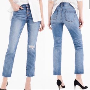 J Crew Vintage Straight Reed Wash Button Fly Jeans